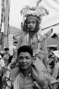 An einem buddhistischen Feiertag